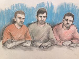 Court artist sketch of, from left, Scott Keeping,  Jason Baccus and Kevin Downton (by Elizabeth Cook/PA)