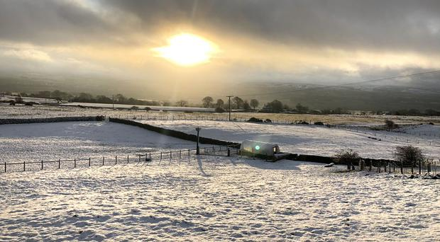 Snow in Pendle in Lancashire (LauraRooney24/Twitter/PA)