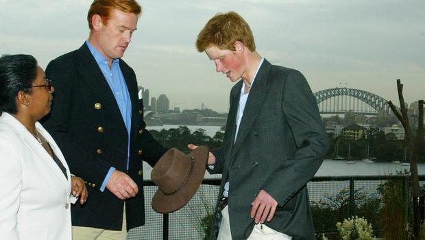 Mark Dyer with Prince Harry during Harry's gap year stay in Australia (Phil Noble/PA)