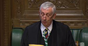 Speaker Sir Lindsay Hoyle speaks in the House of Commons, London, as MPs gathered for the first time since March 25, following the Easter recess and due to the coronavirus outbreak (House of Commons/PA)