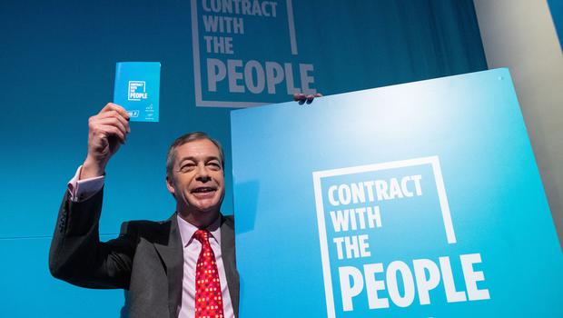 Brexit Party leader Nigel Farage during the party's policy launch (Dominic Lipinski/PA)