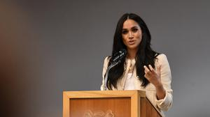 The Duchess of Sussex speaks during a school assembly to mark International Women's Day (Ben Stansall/PA)