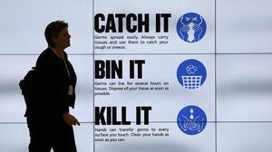 An NHS catch it, bin it, kill it sign as 164 people test positive for Covid-19 as of Friday morning (Philip Toscano/PA)