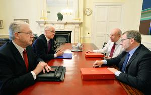 Mike Russell (front left) says the Scottish Government has made preparations in the event of a no-deal Brexit (John Stillwell/PA)