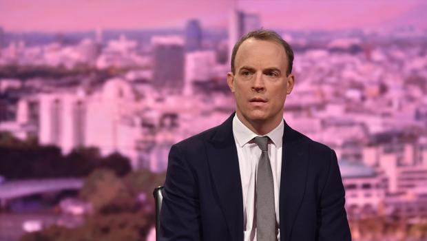 Dominic Raab said following EU rules after Brexit 'just ain't happening' (Jeff Overs/BBC)