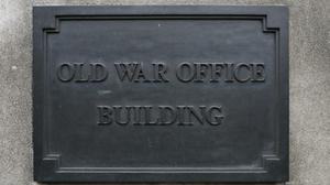A sign for the Old War Office Building, situated on Whitehall in Westminster, central London