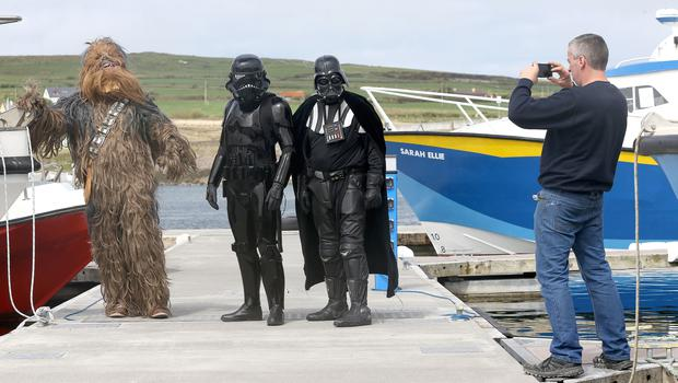 Star Wars fans following a boat trip to the Skellig Islands, Co Kerry (Brian Lawless/PA)