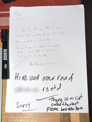 A note to police from David Browning who murdered his boss Jillian Howell (Sussex Police/PA)