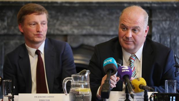 Dr Jerome Coffey and Chief Medical Officer Dr Tony Holohan from the Health Service Executive clinical expert panel during a press conference to address public concern surrounding Ireland's national cervical screening programme (Niall Carson/PA)