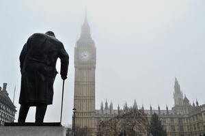 The statue of Winston Churchill stands outside the House of Commons in Parliament Square (Dominic Lipinski/PA)