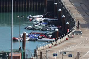Dinghies and Ribs are moored up inside Dover harbour (Andrew Matthews/PA).