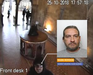 CCTV showing Mark Royden in the hall of Salisbury Cathedral on October 25, 2018 (Wiltshire Police/PA)