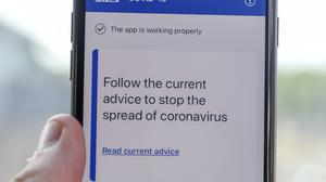 The NHS coronavirus contact tracing app (Steve Parsons/PA)
