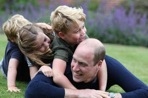 George and his siblings with their father William, pictured during lockdown (The Duchess of Cambridge/PA)