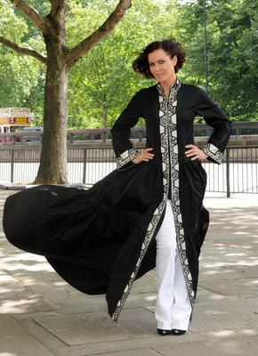 Linzi Stoppard models the world's most expensive abaya, designed by Bruce Oldfield (PA Archive)