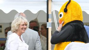 The Duchess of Cornwall meets a man dressed as a Bumble Bee at the Sandringham Flower Show in 2008 (Chris Radburn/PA)