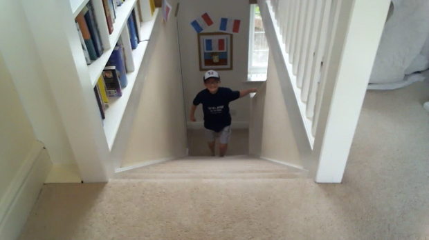 Josh completed his challenge over Zoom by climbing his stairs (Josh Hall)
