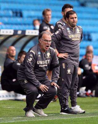 Leeds United manager Marcelo Bielsa looking animated during a game (Martin Rickett/PA)