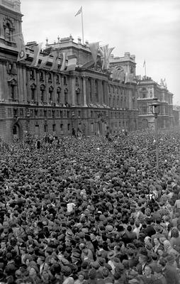 Huge crowds at Whitehall, London, on VE Day in 1945 (PA)