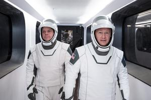 Nasa astronauts Bob Behnken and Doug Hurley in their SpaceX spacesuits (SpaceX/Nasa)