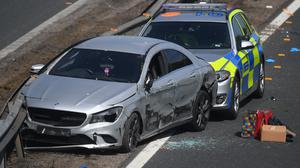 The scene of a crash on the southbound M11 near Chigwell which has been closed after a police pursuit by the Metropolitan Police (VIctoria Jones/PA)