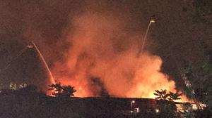 The blaze broke out on an industrial estate next to Clapham Junction station