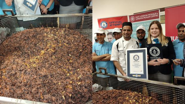 The record for the largest onion bhaji is broken at the East London Mosque and London Muslim Centre (East London Mosque and London Muslim Centre)
