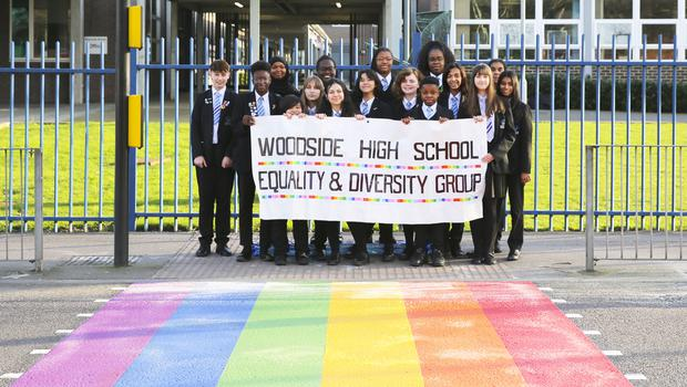 Woodside High School students at the rainbow crossing (Woodside High School)