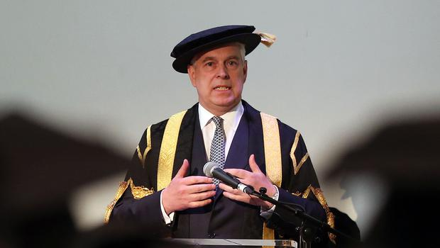 The Duke of York making his speech during his installation as Chancellor of the University of Huddersfield in 2015 (Lynne Cameron/PA)