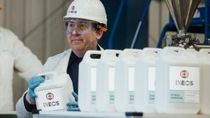 A worker at chemicals giant Ineos's hand sanitiser plant at Newton Aycliffe, near Middlesbrough (Media Zoo/PA)