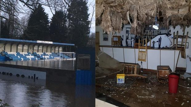 Damage has been caused at sports grounds in England after Storm Ciara (Tadcaster Albion and Corby Town Rugby Club/PA)