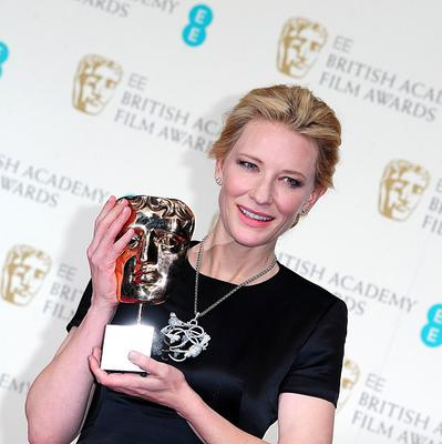 Cate Blanchett collected the Best Actress award for Blue Jasmine at The EE British Academy Film Awards