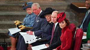 The royal family during the Commonwealth Service at Westminster Abbey (Phil Harris/Daily Mirror/PA)