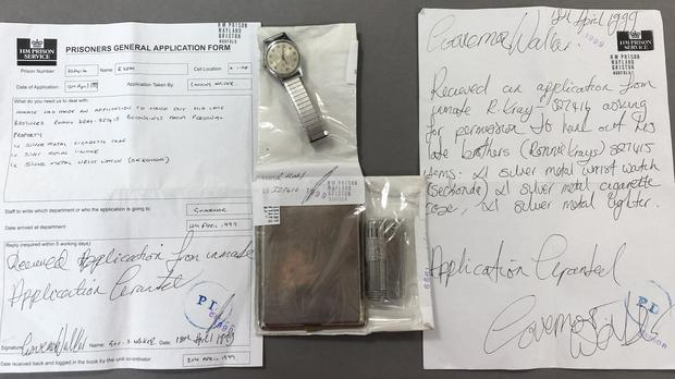 A watch, cigarette case and lighter belonging to infamous gangster Ronnie Kray are to be auctioned at Cheffins in Cambridge. (Cheffins/ PA)