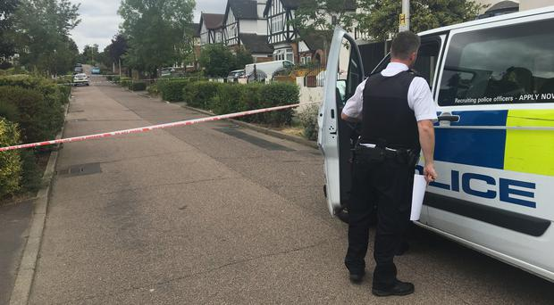 The scene in Malvern Drive, Woodford Green, where a man named locally as Paul Allen was shot (Samar Maguire/PA)