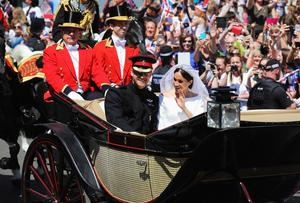 Meghan and Harry on their wedding day (Christopher Furlong/PA)