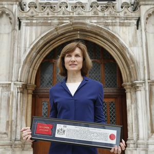 BBC presenter Fiona Bruce after receiving the freedom of the City of London