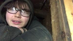 Protester Blue Sanford, 18, from London, in part of the tunnel network (HS2 Rebellion/PA)