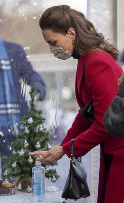 Kate used hand sanitiser during the visit (Paul Grover/The Daily Telegraph/PA)
