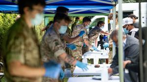 Members of the military at a Covid-19 testing centre in Spinney Hill Park in Leicester (Jacob King/PA)