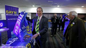 Nigel Farage leader of the UKIP Party arrives to attend their Spring Conference in Llandudno, North Wales.