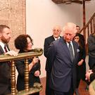 The Prince of Wales views a reconstructed synagogue on a tour of the Israel Museum in Jerusalem (Neil Hall/PA)