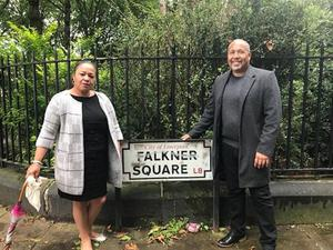 Michelle Charters, chair of advisory panel, and Eric Lynch's son Andrew in Falkner Square, one of the places being considered for a slavery memorial plaque. (Liverpool City Council handout/PA Wire)