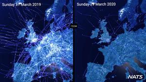 Video issued by National Air Traffic Services showing comparison air traffic over Europe one year apart (NATS/PA)