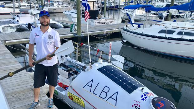 Niall Iain Macdonald has set off on his third solo rowing attempt across the North Atlantic Ocean (SAMH/PA)