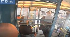 Robert Child alighting a bus after killing his mother (Merseyside Police/PA)