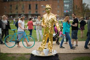 The Gold Mirror Man, from Australia, came a long way for the National Living Statue Competition (Aaron Chown/PA)