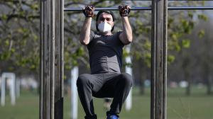 A person using an outdoor gym (PA)