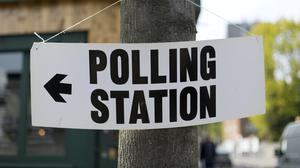 A polling station sign in north London (Yui Mok/PA)