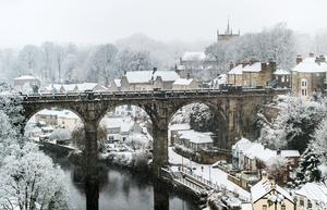 For others it was a chance to take in a beautiful winter scene, such as Knaresborough Viaduct in North Yorkshire (Danny Lawson/PA)